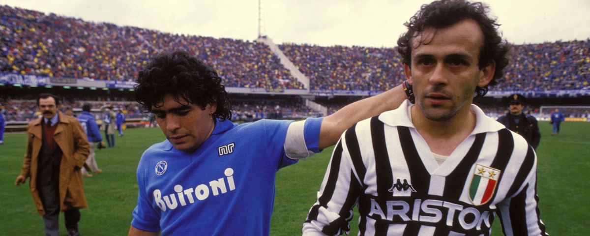 Michel Platini and Diego Maradona